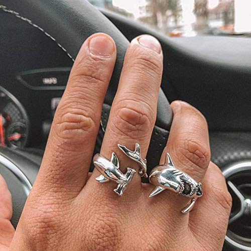 Acamifashion 2Pcs/Set Vintage Adjustable Alloy Shark Open Rings Unisex Party Jewelry Gift - Silver by Acamifashion (Image #4)