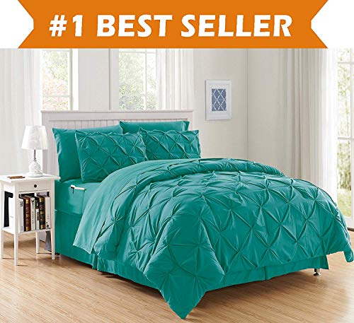 Elegant Comfort Luxury Best, Softest, Coziest 8-Piece Bed-in-a-Bag Comforter Set on Amazon Silky Soft Complete Set Includes Bed Sheet Set with Double Sided Storage Pockets, Full/Queen, Turquoise (Turquoise Bedding Color)