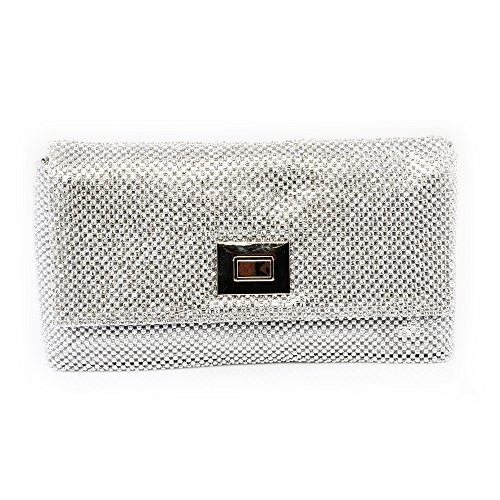 Silver Framing Evening Weddingg Handbag Ladies Bridal Decorated Womens Metal Clutch Bag nHSwvOqwI