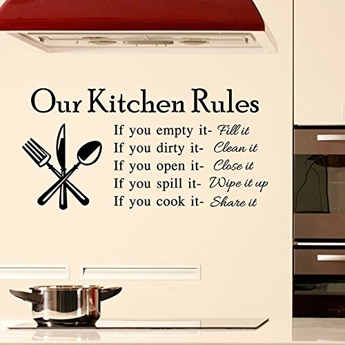 DNVEN (23w x 11h) DIY Our Kitchen Rules Quotes Family Graphic Handmade Wall Decals Stickers Removable Vinyl Arts for Childrens Day Bedrooms Family Playroom Classroom