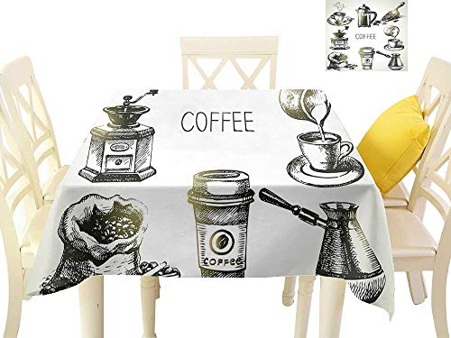 (funkky Elegance Engineered Tablecloth Brewing Equipment Doodle Sketch Grinder French Press Plastic Cup Scoop Vintage W36 x L36, Waterproof/Oil-Proof/Spill-Proof Tabletop Protector)