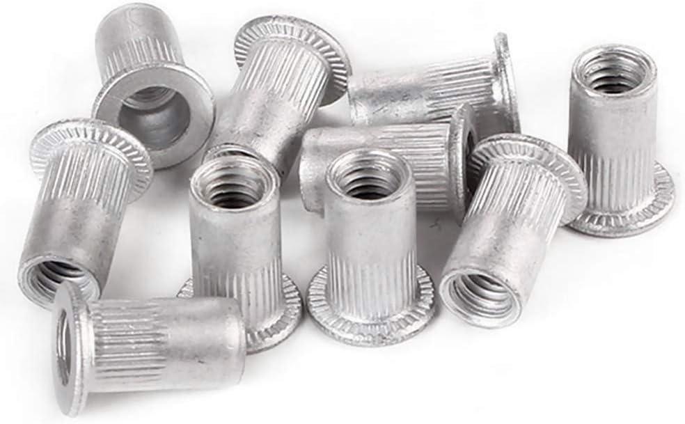 JWJY 25pcs M5 Flat Head Aluminum Rivets Nuts Threaded Inserts Nutserts Color : Silver