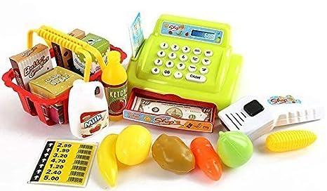Arshiner Juguete de Caja Registradora de Similación de Supermercado Con Alimentos y Dinero: Amazon.es: Juguetes y juegos