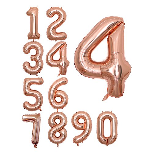 Rose Gold 40 inch Jumbo Number Balloons Foil Balloons for Birthday Party Supplies,Anniversary Events Decorations and Graduation Decorations /… ROSE4