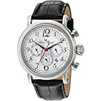 Lucien Piccard Men's 'Capri' Quartz Stainless Steel and Leather Watch, Color:Black (Model: LP-40030-02S)