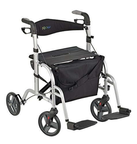 Juvo Convertible Rollator-Transport Chair, 250-Pound Capacity, Silver (Combo Walker)