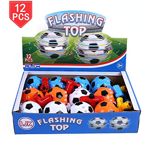 Spinner Ball Led - PROLOSO Spinning Top LED Toys Light Up Rotary Desktop Football Gyro 12 Pcs