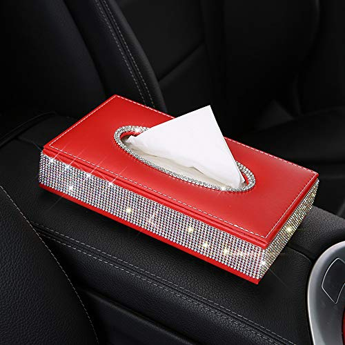 U&M PU Leather Tissue Box Holder, Bling Bling Crystal Rectangular Napkin Holder Pumping Paper Case Dispenser for Home Office Car Auto ()