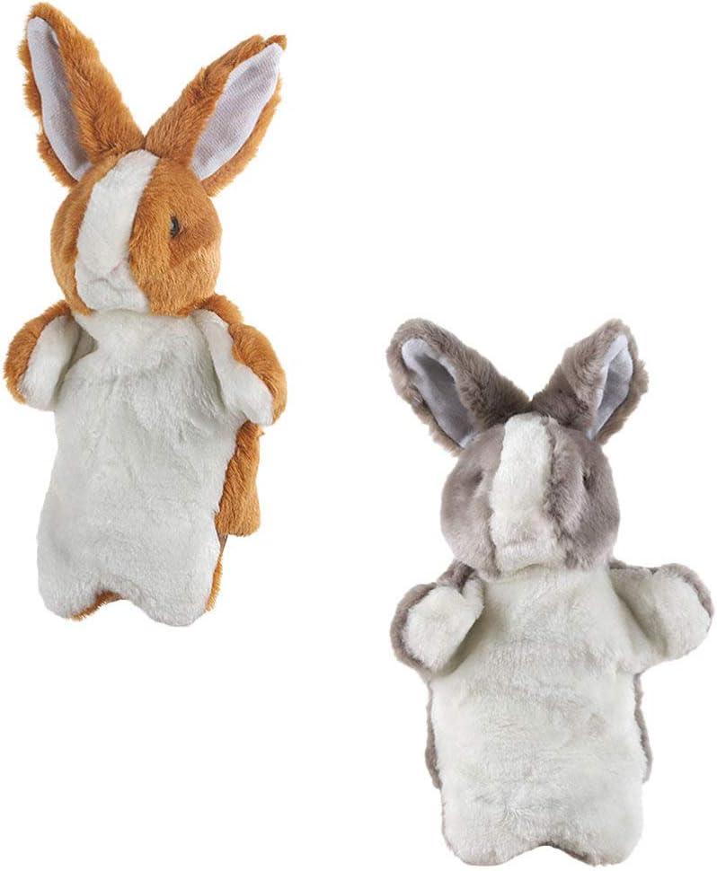 Kisangel 2 Pi/èces Lapin Lapin Main Poup/ée Marionnette en Peluche Animal Main Stade Narration Marionnette Jouet De P/âques Animal Main Gants Jouet Doigt Marionnette