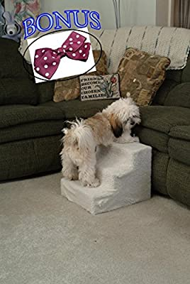 Pet Stairs. 3 Step Staircase Helps Small And Older Dog And Cat To High Bed, Sofa, Car. Indoor Deluxe Doggy Furniture Supplies. Easy Up For Puppies.