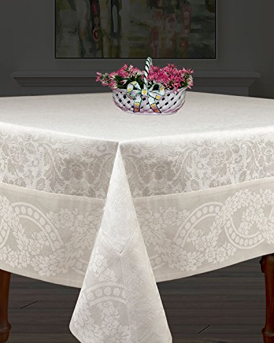 Armani International Linen Cotton, Machine Washable, Everyday Jacquard Tablecloths 71x144'' Rectangular for Dinner Parties, Holidays, White-Off White by European Linen Masters by Armani International
