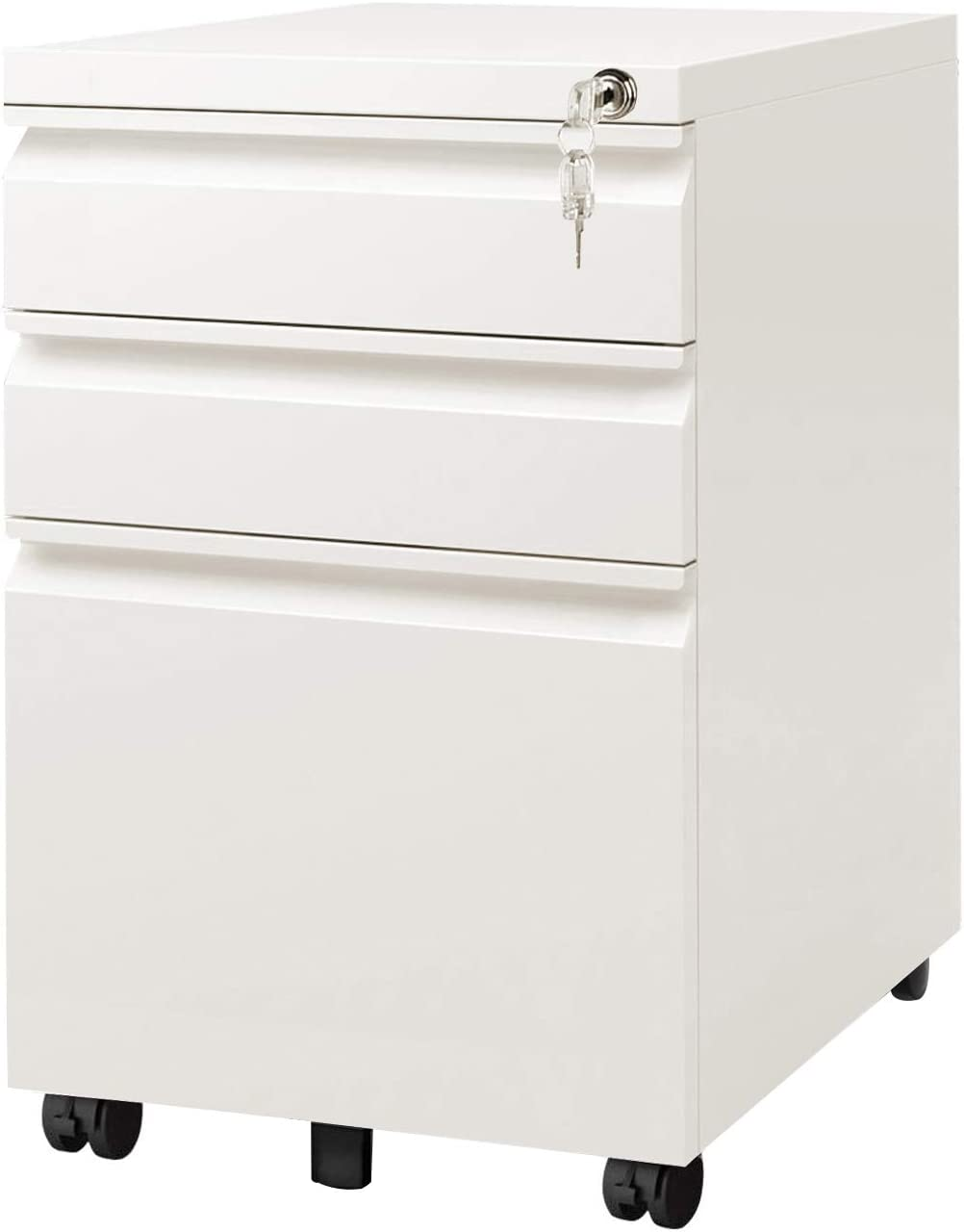 DEVAISE 35 Drawer Mobile File Cabinet with Lock, Fully Assembled Except  Casters, Letter/Legal Size, White