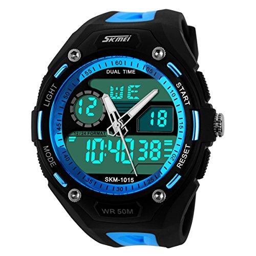 XLORDX Digital Armbanduhr LED Sportuhr Stoppuhr Wecker Wasserdicht Quarzuhr Taschenuhren Blau