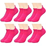 IMOZY Women's Athletic Cushion Ankle Socks Pack- Low Cut Socks with Tab for Big Girls and Women- 6 Pair in Hot Pink