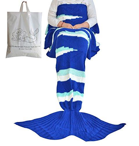 FADFAY Designer Mermaid Tail Blanket Crochet Mermaid Blanket Knitted Mermaid Tail (35''75'', Wave)