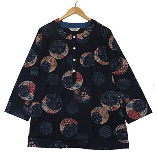 どこ貝殻お金[ローズハウス] Rose House 綿紬 古典紋柄 ウエア チュニック 上品 レディース 日本製