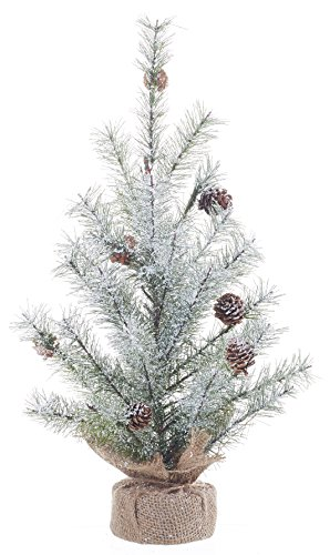 Large Icy Pine and Burlap Pedestal 18 inch Artificial Christmas Tree Decoration