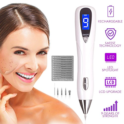 Dermasmoothe Pro Mole Removal Pen Kit | Skin Tag Remover, Mole Remover, Warts, Nevus, Dark Spots, Freckles, Tattoo | 9-Gears, USB Rechargeable, LCD Display | Spot Eraser Pro, Facial Skin Care Tool (Remover Wart Kit)