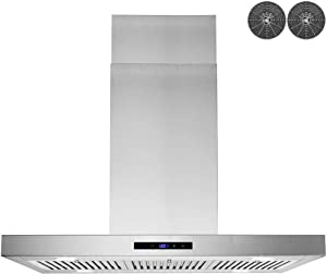 AKDY 36 in. Convertible Island Mount Range Hood in Stainless Steel with LED Lights, Touch Control Panel and Carbon Filters