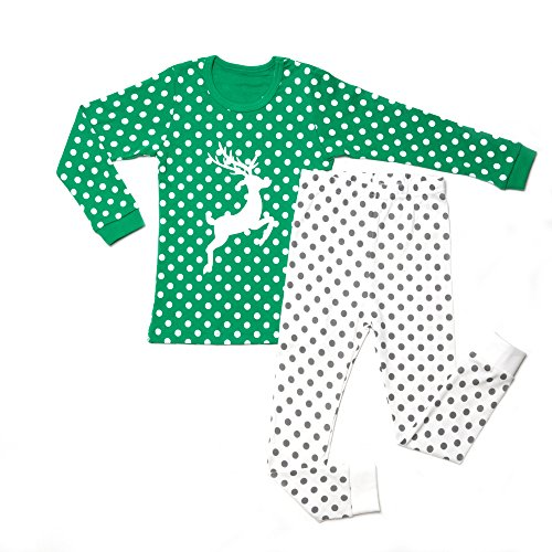 OllCHAENGi Little Boys Girls Kids Cotton Pajama Sleepwear Set Long Sleeve 18M-12Y Rudolf Green (150)