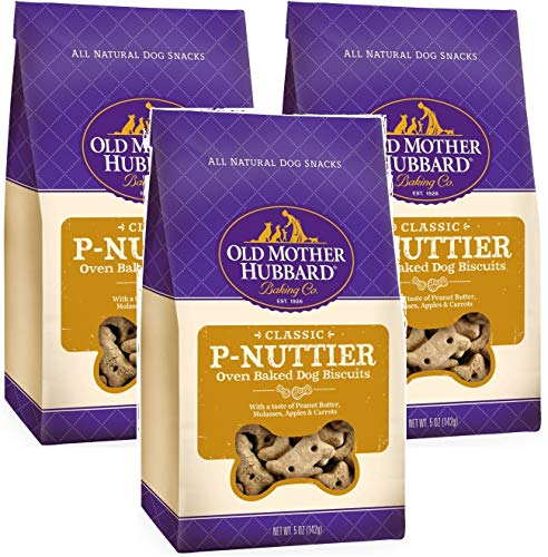 - Old Mother Hubbard 3 Pack of Crunchy Classic Natural Dog Treats, P-Nuttier Mini Biscuits, 5 Ounces Per Bag