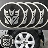 black decepticon car emblem - Decepticon Transformers Silver/Black Wheel Center Decal Emblems (4 pcs)