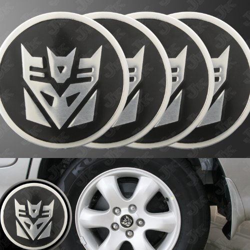 (Decepticon Transformers Silver/Black Wheel Center Decal Emblems (4 pcs))
