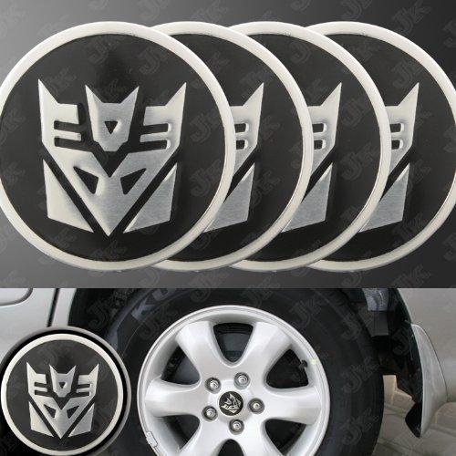 (Decepticon Transformers Silver/Black Wheel Center Decal Emblems (4 pcs) )