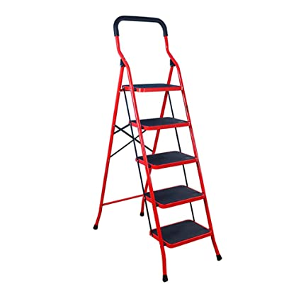 Magnificent Baoyouni 5 Step Ladder Folding Step Stool Safety Portable Heavy Duty Stepladders With Handgrip Anti Slip And Wide Pedal Household Tool For Home Office Squirreltailoven Fun Painted Chair Ideas Images Squirreltailovenorg