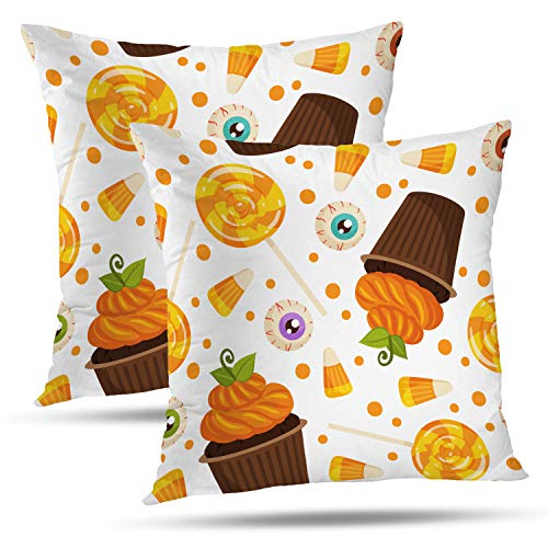 (Batmerry Halloween Pillow Covers 18x18 inch Set of 2, Halloween Pumpkin Spice Orange Evil Eyes Candy White Border Throw Pillows Covers Sofa Cushion Cover Pillowcase Home)
