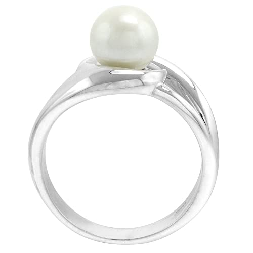 Sterling silver Pearl Ring for Women Swirl 1 2 inch wide sizes 5-10