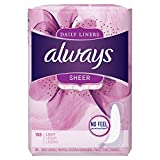 Always Sheer Daily Liners,Unscented, Wrapped, Light, 108 Count,Pack of 6, (Total 648 Count)