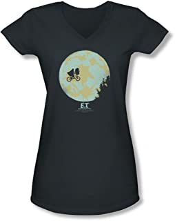 Bike In The Moon Black Fitted T-ShirtSizes S-XXL Official Ladies E.T