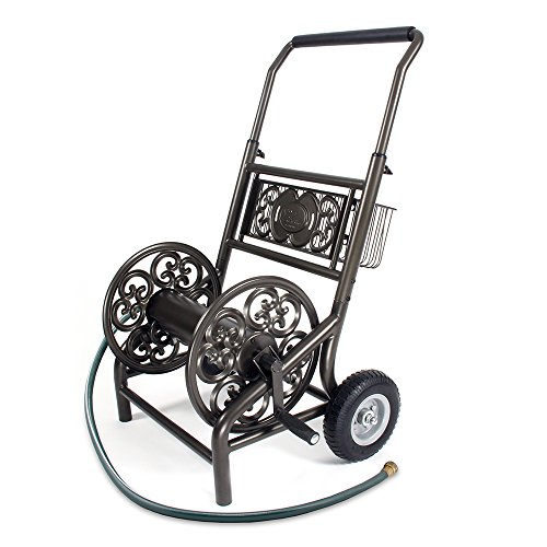 Metal Cart Iron Wrought - Liberty Garden 301 Never Flat 2-Wheel Decorative Garden Hose Reel Cart, Holds-200-Feet of 5/8-Inch Hose - Bronze