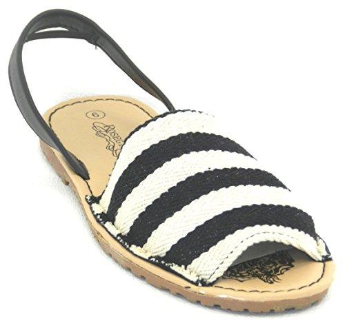 Femmes Confort Multi Couleur Toile Casual Plage Été Sandales Plates Chaussures Noir / Beige