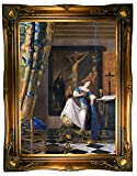 Historic Art Gallery The Allegory of The Faith 1670 by Johannes Vermeer Framed Canvas Print - Ornate Gold Gallery - 19x26