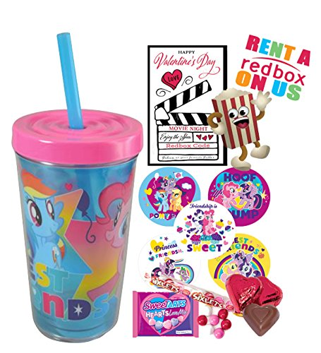My Little Pony Valentines Day Redbox Movie Night Fun Sip Favor Cup! Pre-Filled & Ready For Giving! Includes Keepsake Tumbler, Redbox Rental, Popcorn, Candy & Favors!