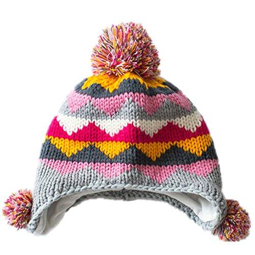 [Home Prefer Girls Boy Multi-colors Fair Isle Jacquard Knit Hats Earflap Peruvian Hat with Pom M] (Ethnic Hats)