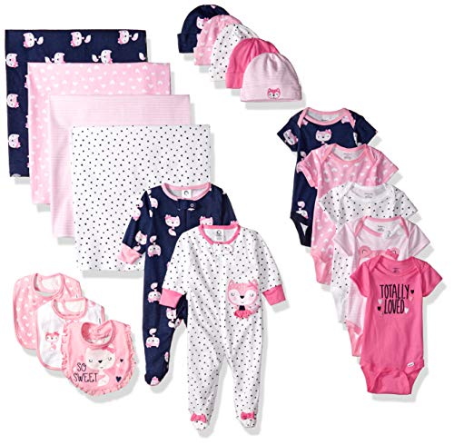 Gerber Baby Girls' 19-Piece Essentials Gift Set, Pink Fox, Newborn