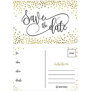 Amazon 50 rustic save the date cards for wedding engagement 25 elegant gold dots save the date cards for wedding engagement anniversary baby shower birthday party save the dates postcard invitations simple black filmwisefo