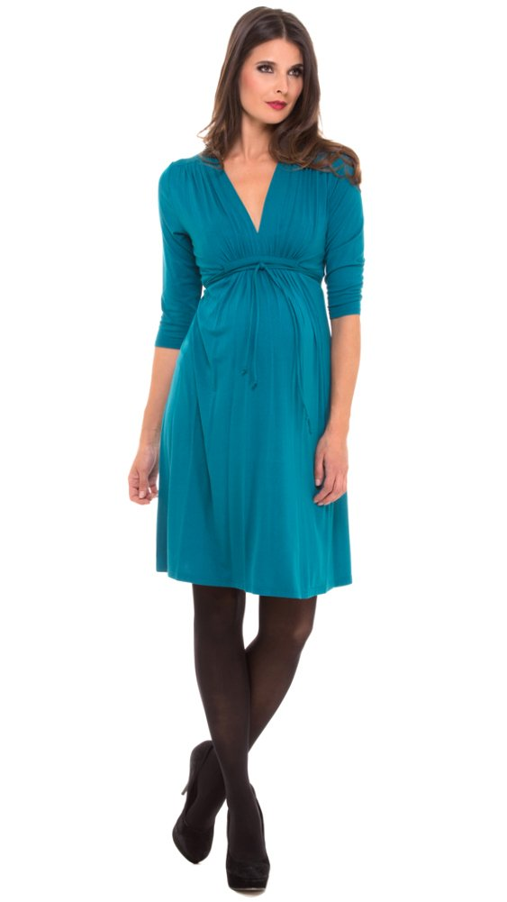 The V-neck Shirred Shoulder 3/4 Sleeve Rayon Knit Dress (X-Large, Black) by Olian