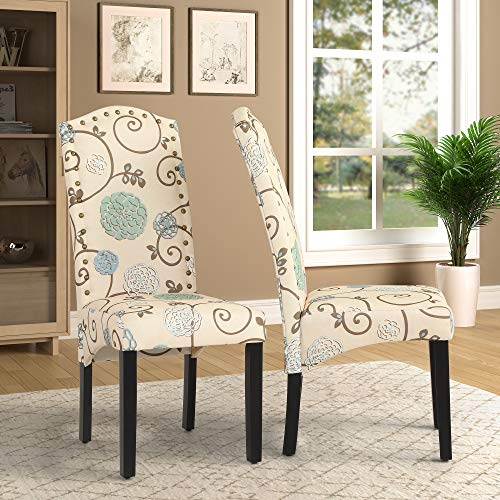Merax Contemporary Faux Leather Dining Chairs with Sturdy Wood Legs (Beige&Floral)