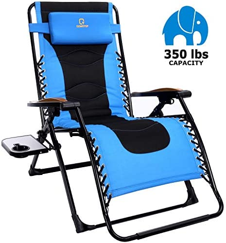OT QOMOTOP Oversized Zero Gravity Chair, 22.8 W Padded Seat, Adjustable Reclining Angle with Lock, Lounge Patio Chair with Cup Holder, Folding Recliner, Support up to 350lbs Blue