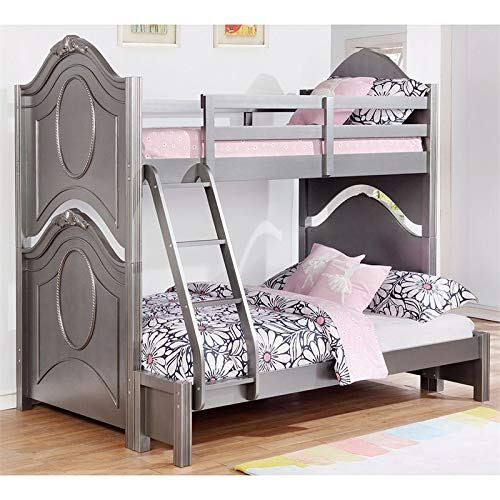 Coaster Valentine Twin Over Full Bunk Bed in Metallic Pewter