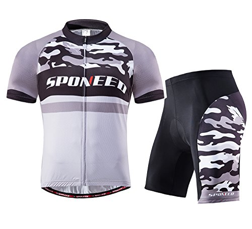 sponeed Cycling Gear for Men Bike Shorts Compression Full Zip Jersey Camouflage Team Edition Asian L/US M Grey Multi