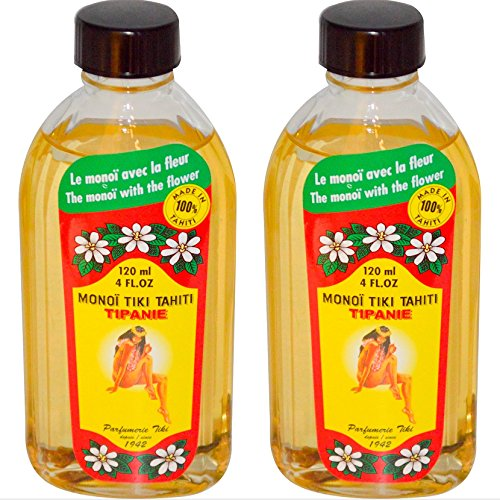 Monoi Tiki Tahiti Tipanie Frangipani Coconut Oil (Pack of 2), Scented With Fresh Handpicked Tiare Flowers, 100% Made in Tahiti, 4 fl. oz. ()