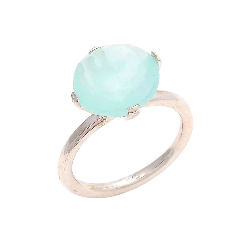 Aqua Chalcedony 10mm Oval Briollete 925 Sterling Silver Gold Plated Prong Ring
