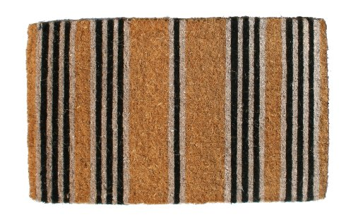 Imports Decor Printed Coir Doormat, Black Stripes, 18-Inch by - Coir Mat Traditional