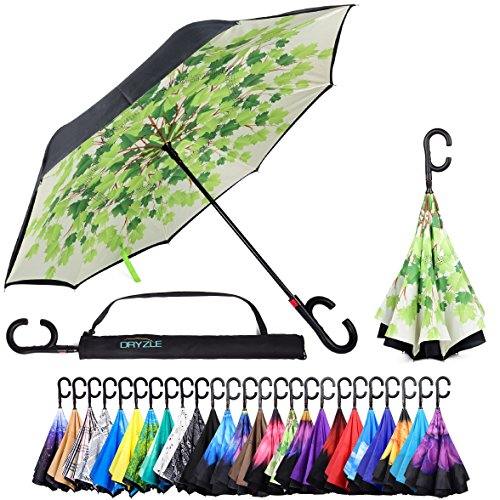 Reverse Inverted Inside Out Umbrella - Upside Down UV Sun Protection Windproof Brella That Open Better Than Most Umbrellas, Reversible Folding Double Layer, Suitable for Golf, Car, Women and Men (Ivy Umbrella)