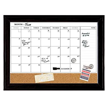 Quartet Dry Erase Calendar Board, Magnetic, Combination Dry Erase & Cork, 17 x 23 Inches, Black Frame (79275)